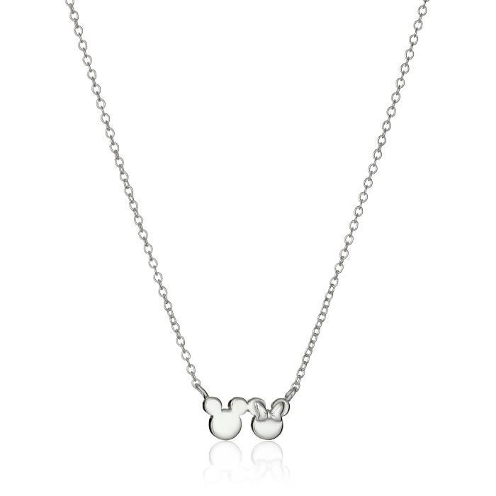Disney Minnie And Mickey Mouse Silhouette Pendant Necklace, 16+2 Extender ZLNIT