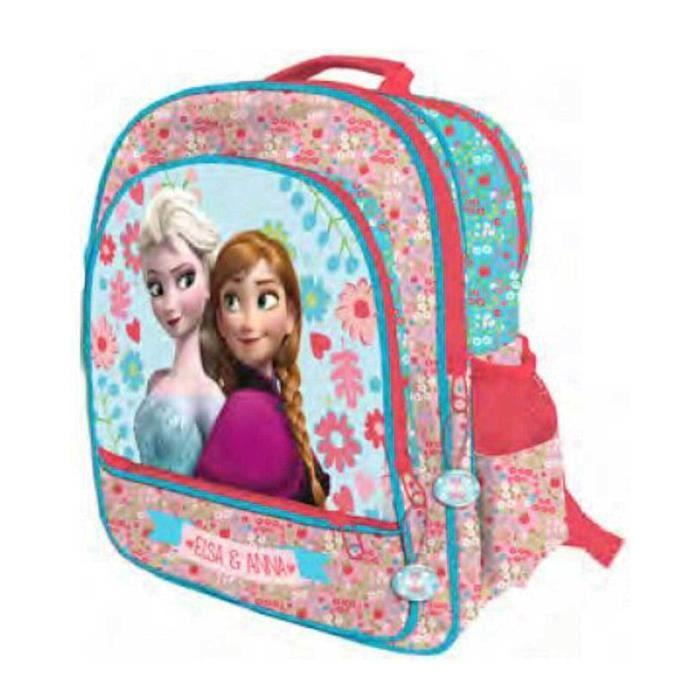 bba28a4c12a4a1 FROZEN Grand sac a dos cartable école filles la reine des neiges Elsa Anna  rare rose 3 compartiments bords paillettés Disney 41 cm