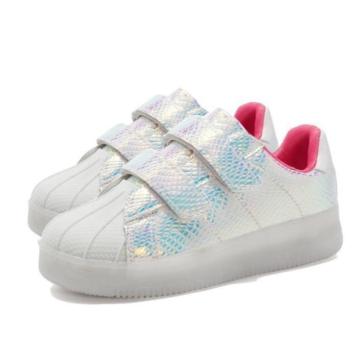 LED Lumineuse Chaussures de Sport Chaussure Basket Casual Chaussures Forme de la Tête de Coquillage Pour Enfant 39 Rose