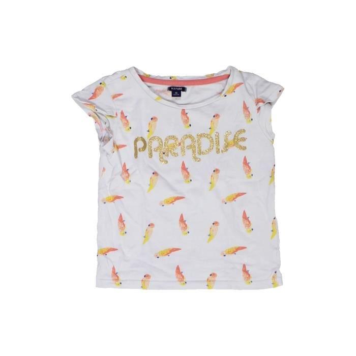 00aa521be03ca T-shirt manches courtes enfant fille KIABI 3 ans blanc été - vêtement bébé   1061061