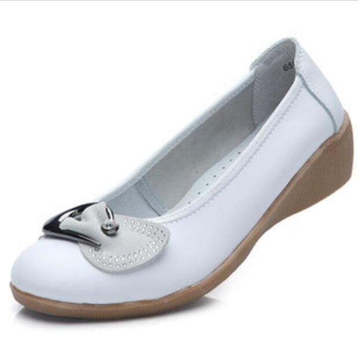 Chaussures Femme Cuir Classique Comfortable Chaussure LKG-XZ047Blanc39