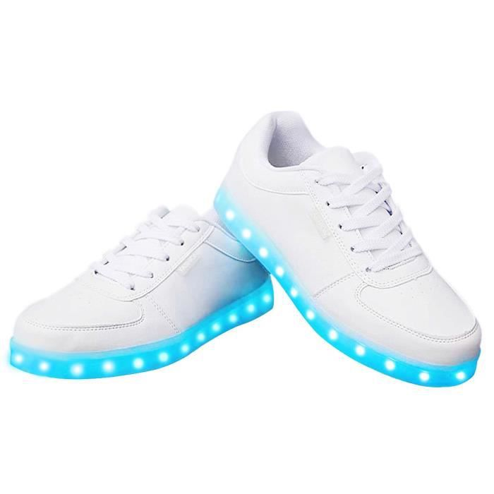 7 couleurs lumineuses Led Chaussures et chaussures de sport d'impression (USB Charging) ALLOO Taille-37 1-2