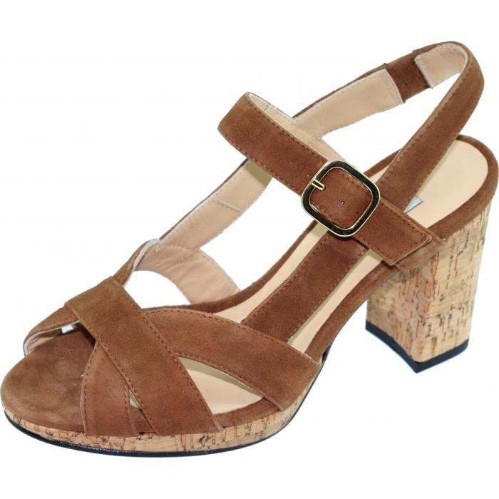Marron Taille Yves De Petite Marque Chaussure Épais Cuir Et Talon Berardia Femme Sandale Beaumond Plateforme Pointure Velours ED9eWHY2Ib