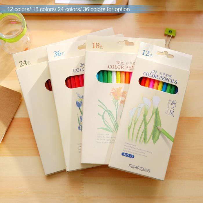 12 Couleurs Non Toxiques Dessin Crayons De Couleur En Bois Coloriage