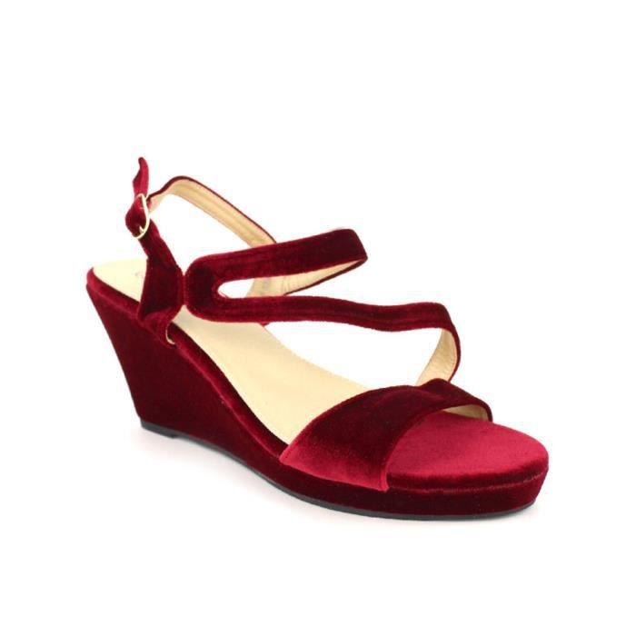 sandale - nu-pieds, Compensées Bordeaux Chaussures Femme, Cendriyon