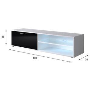 Meuble tv avec rangement noir et blanc achat vente meuble tv avec rangement noir et blanc for Meuble tv noir brillant
