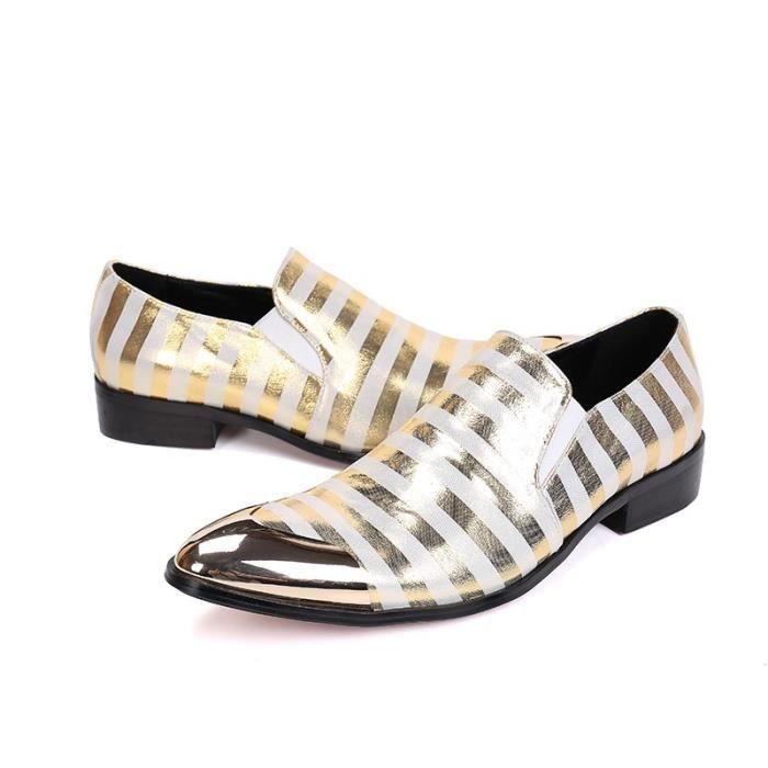 Mode ronde en métal Toe Chaussures Hommes rayées cuir véritable pour hommes Party chaussures de mariage d'affaires Oxford