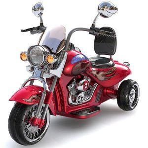 MOTO - SCOOTER Moto électrique enfant style Harley rouge avec cof
