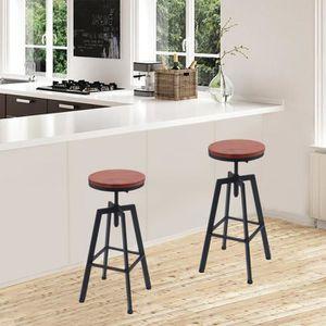 TABOURET DE BAR YXN ❤Lot de 2 Chaises de Bar Style Industriel Vint