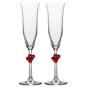 Verre à vin Flûtes à champagne , avec des cœurs rouges, 175 ml