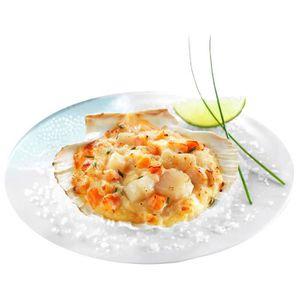 POISSON CUISINÉ Coquilles au saumon et noix de Saint-Jacques surge
