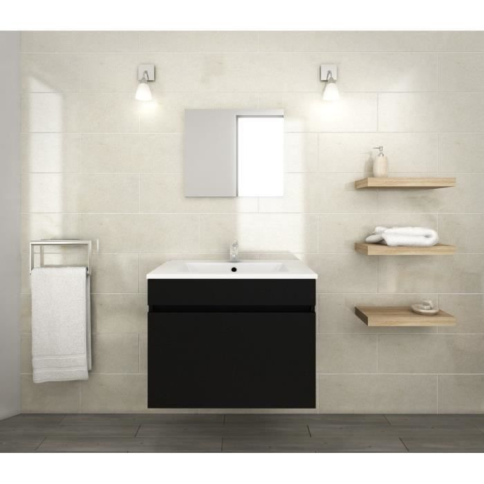 luna ensemble salle de bain simple vasque l 60 cm noir mat achat vente salle de bain. Black Bedroom Furniture Sets. Home Design Ideas