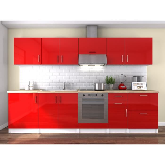 Meuble cuisine bas rouge laque achat vente meuble for Cuisine avec electromenager offert