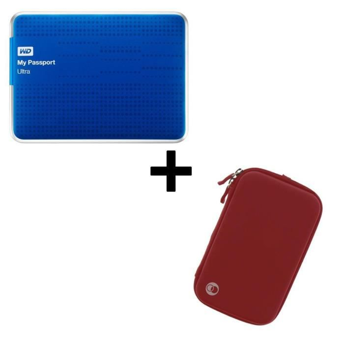 Pack Western Digital Disque Dur Externe Reconditionné - My Passport Ultra - 1To - 2,5