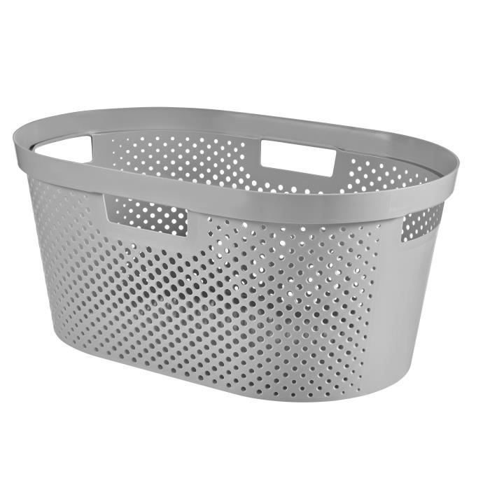 CURVER Panier à linge Infinity Dots 40 L gris