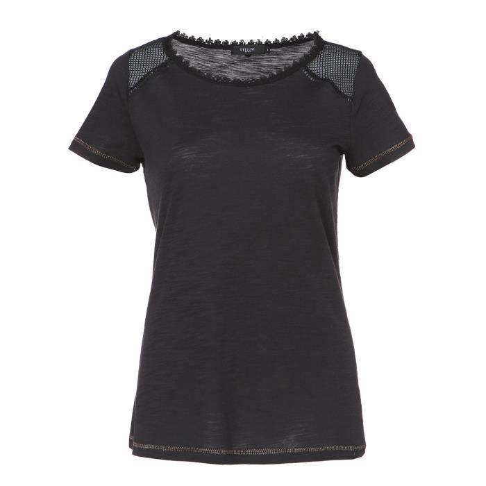 DEELUXE T-Shirt Cleo Noir Surpiqure Doré noir Femme