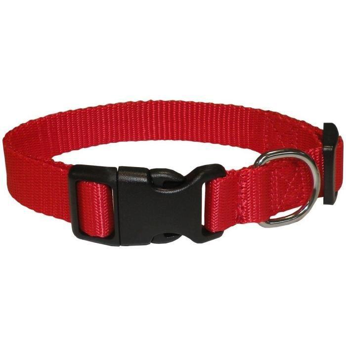 Souple et doux - Taille : XS - Tour de cou : 24 - 35cm - Taille : XS - Coloris : rouge - Pour chien.COLLIER