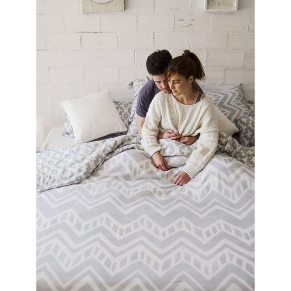 Matière : 100% coton - Dimensions : 240x220 cm - Coloris : gris et blancHOUSSE DE COUETTE