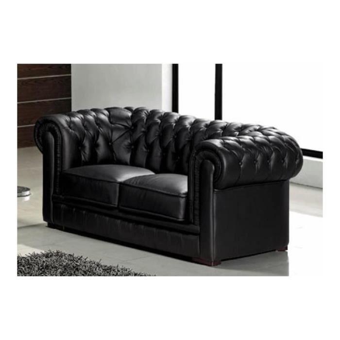 Canapé capitonné 2 places en cuir noir CHESTERFIELD - Achat   Vente ... 77dc1ef9f557