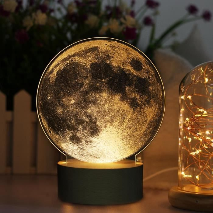 Usb Acrylique Nightlight Commande Charge Diy Tactile De Chevet Lampe Moon 3d Led OkZTPXiu