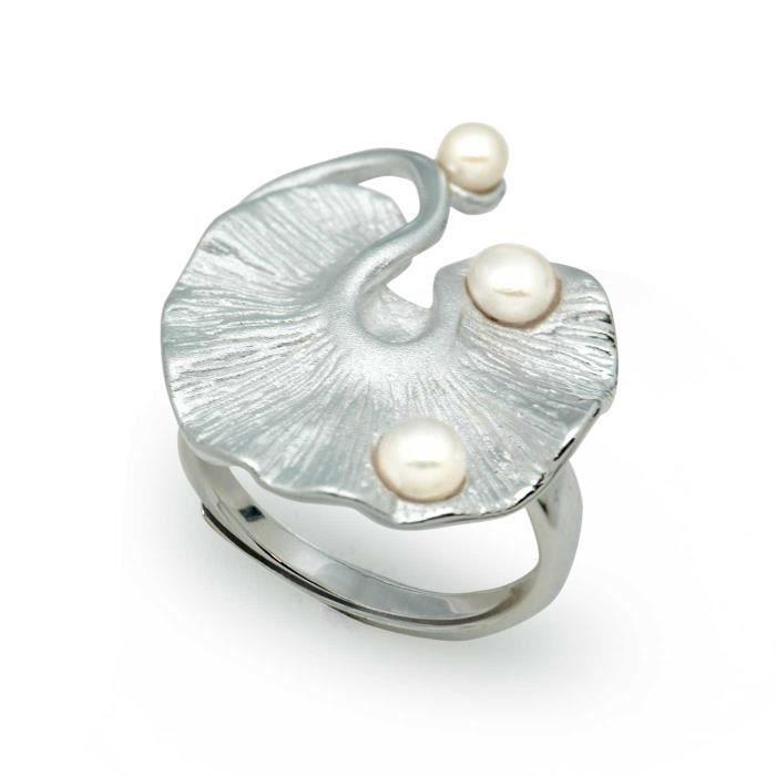 Lotus Leaf fait à la main perle naturelle 925 Sterling argent bague dewdrop réglable