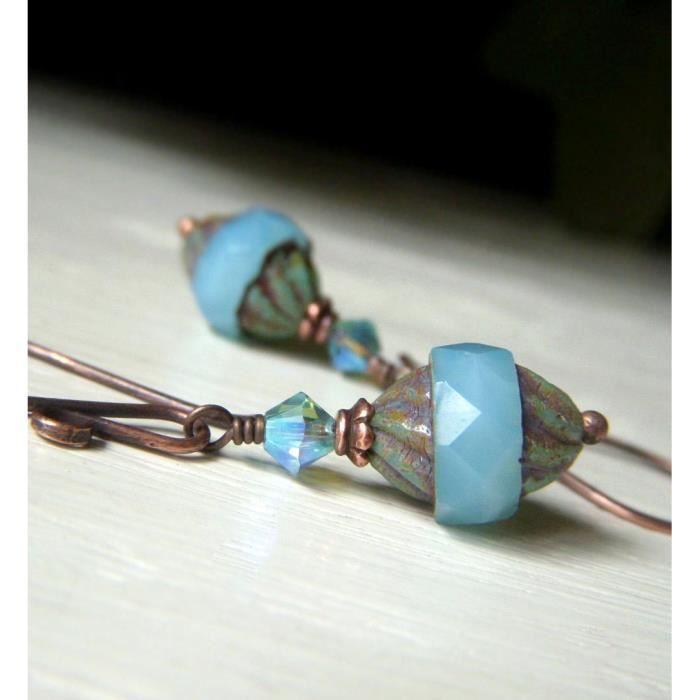Boucles doreilles Aqua Femmes, verre opale tchèque, cuivre Earwire, Forme de turbine RB2SY