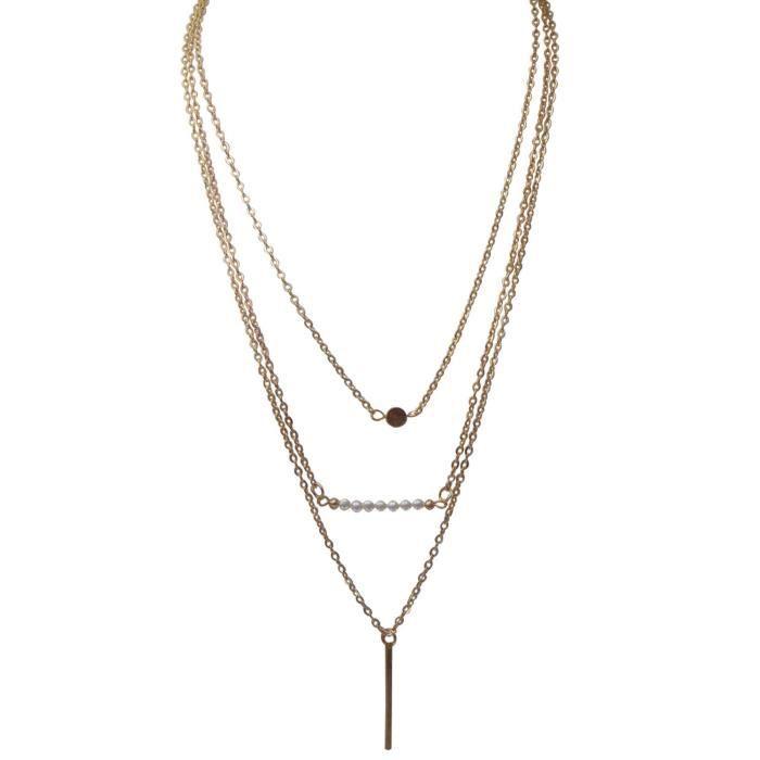 Collier triple couche pour (jfnd0501) Femmes Bouton dor Allloy & Bar AEACH