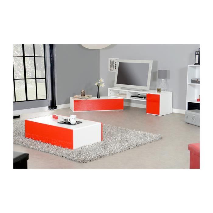Ensemble kero meuble tv 1 porte 1 tiroir 2 niches for Ensemble table basse meuble tv blanc