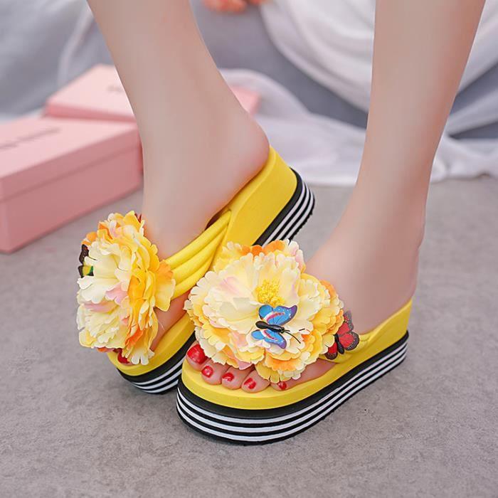 2017 Sweet Femmes Eté Belle Fleur Papillon Flip Flops Pantoufles Mignon Femmes Creeper Plateforme Chaussure jaune taille 39