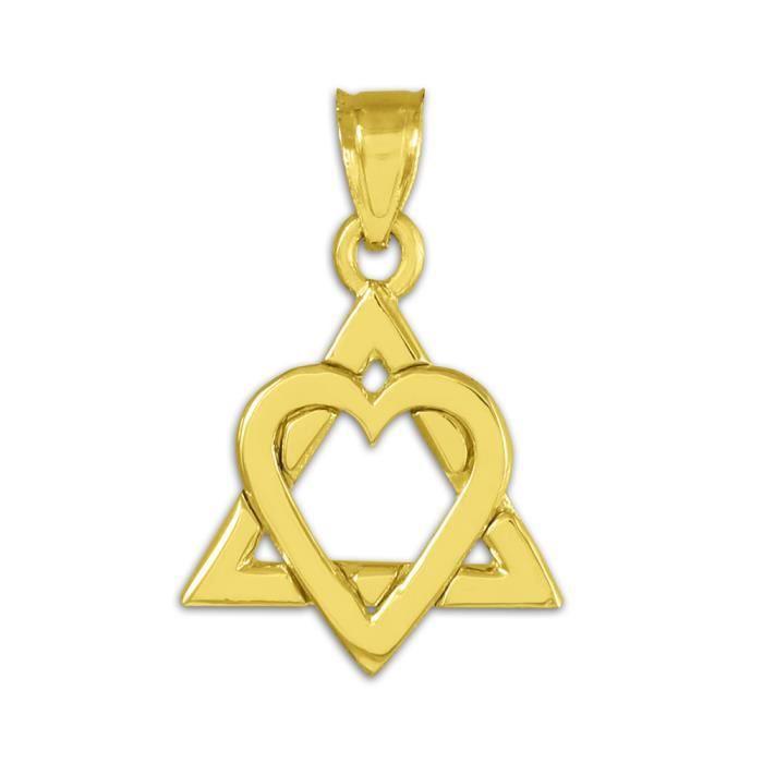 Collier Pendentif10 ct Or Jaune 471/1000 Étoile de David Collier Pendentif-Cœur(0,9 ) (vient avec une Chaîne de 45 cm)
