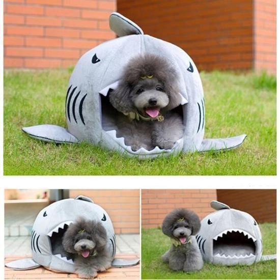 Panier En Forme De Requin Avec Matelas Pour Chien Et Chat(gris Taille M)confortable Mignon