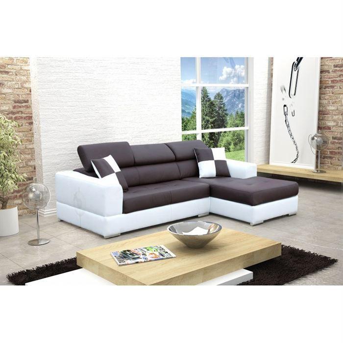 canape d angle droit design noir et blanc madrid - Canape D Angle Noir Et Blanc Pas Cher