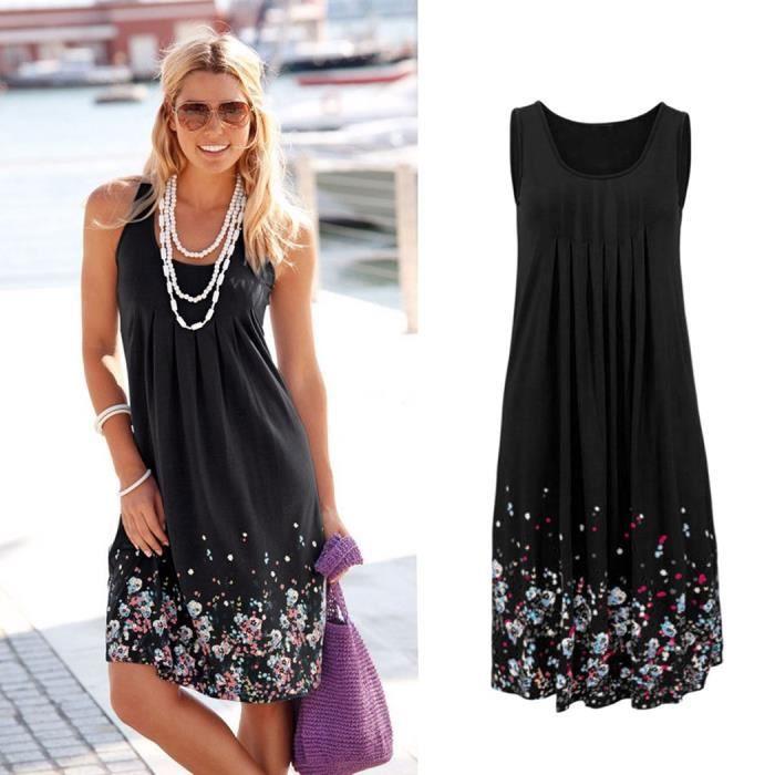 3144c2a839fc9 Nouveau coton femmes robe d été sans manches im... Noir - Achat ...
