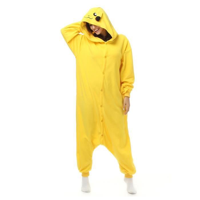29e5b0d5e63d Flanelle Jaune Pikachu Pyjama Femme Homme Enfants Onesies Cosplay Hiver  Animaux Pour Les Adultes Bande Animaux Dessinée Vêtements