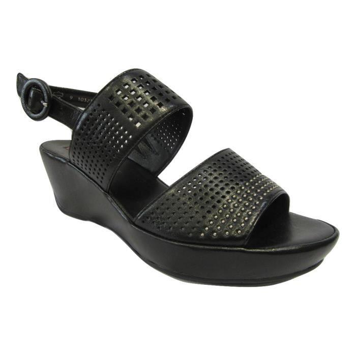 Sandales HOGL confort en cuir noir talon compensé 8jAzotz