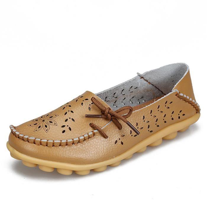 Moccasin femme Poids Léger Antidérapant Durable Luxe Chaussures Respirant Creux-sculpté Bowknot Classique Grande Taille MtP3j1c3