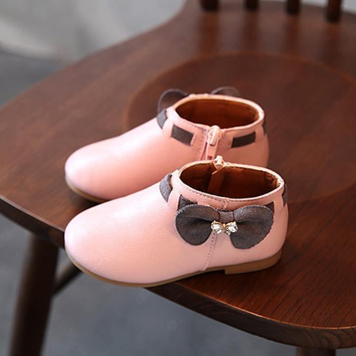 BOTTE Toddler Bébé Filles Enfants Mode Bowknot Sneaker Bottes Zipper Casual Chaussures@Rose