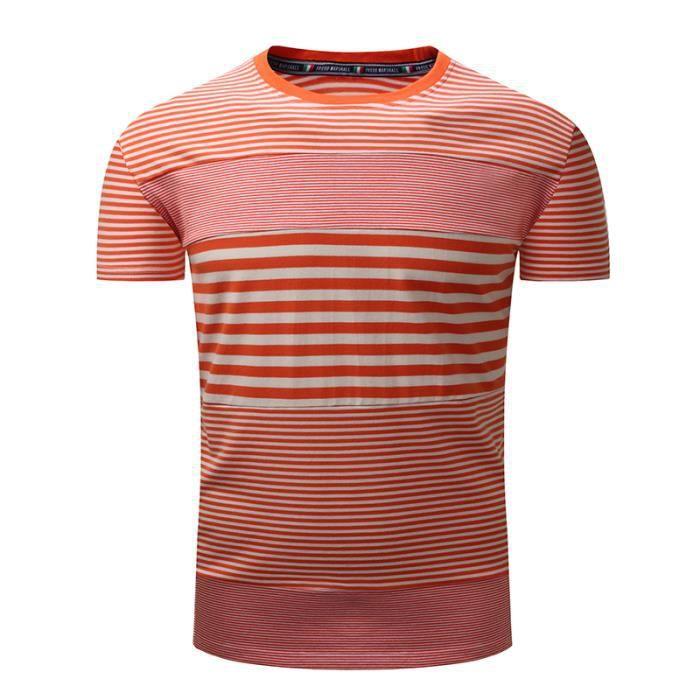 T shirt Homme col rond pas cher en Couleur unie rayures 100%Coton Tee shirt  Hommes à manches courtes VêTement Masculin 1009690af184