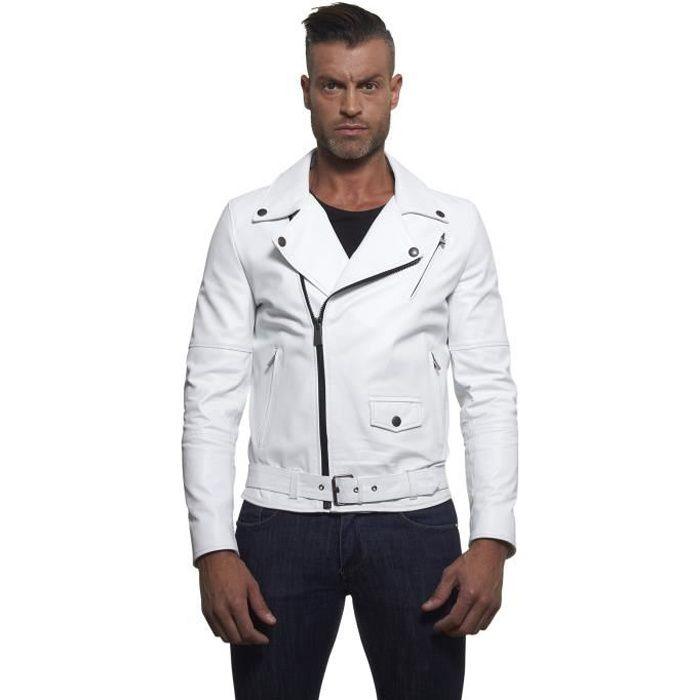 ee6410a743f CHIODO BIKER • couleur blanche • blouson cuir homme perfecto cuir plongé