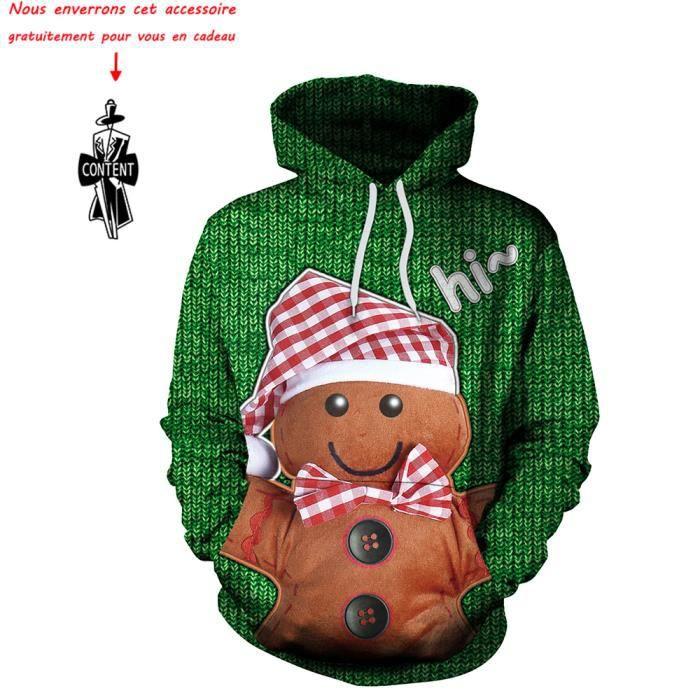 abfb9e842635d Sweat shirt Femme Biscuits de Noël imprimé Sweat à capuche Femmes ...