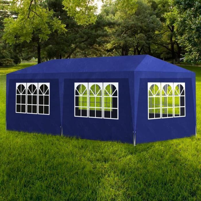 Haute qualité Tonnelle de jardin Tente de réception Chapiteau Bleu 3x6m