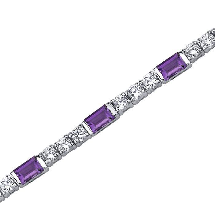 Bracelet - Femme -Argent- AmethysteBaguette