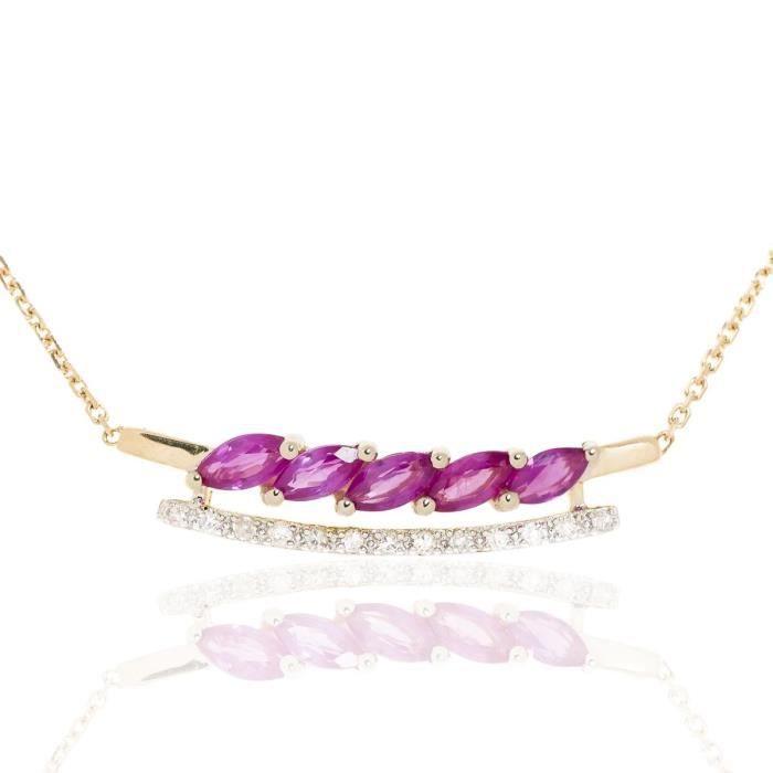 Collier En Or Avec Diamants Et Rubis Navettes S3rlsN