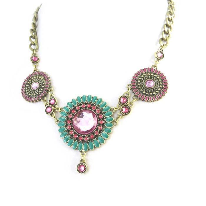 Desigual [M3300] - Collier créateur Desigual vert rose