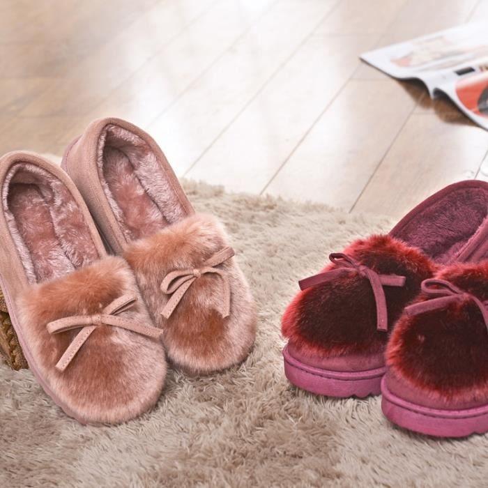 Chaussons féminine Pois en bas garder extérieur coton chaud coton Drag épais coton d'hiver intérieur au et Mode Chaussons Accueil AnY4S