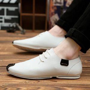 Mode Cuir Chaussures Hommes Respirant Souliers simple d'homme Side Slip fermeture à glissière Mocassins Flats,blanc,9.5