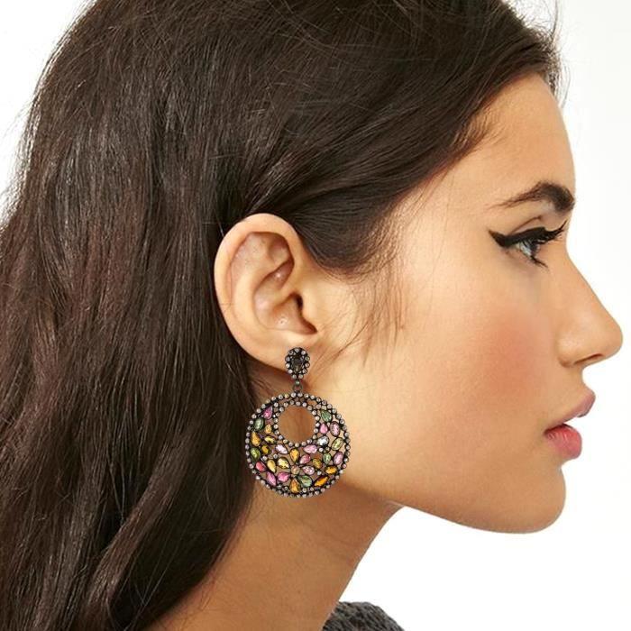 Be You hypnotisant tourmaline multicolore avec rose diamant pierres précieuses véritables rhodium noir plaqué argent sterling