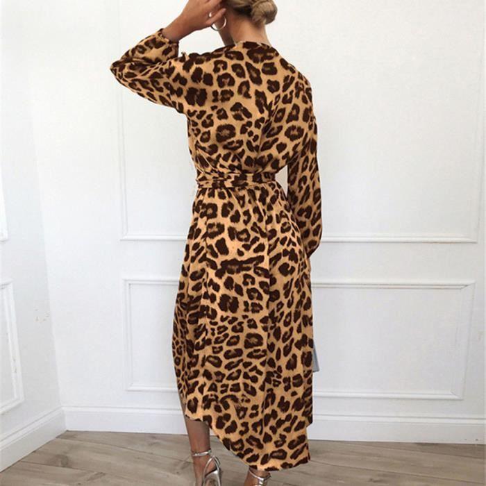 Imprimé Split V Lacées À Longue Longues Robe yun1788 Manches Casual Encolure Mode En Femmes De Léopard 7wqf0fnIU