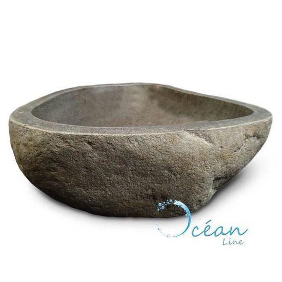 Vasque à poser 40 cm en pierre de rivière, Galéo Grise - Achat   Vente  lavabo - vasque Vasque à poser 40 cm en pie… - Cdiscount ad5c9df9c8a4