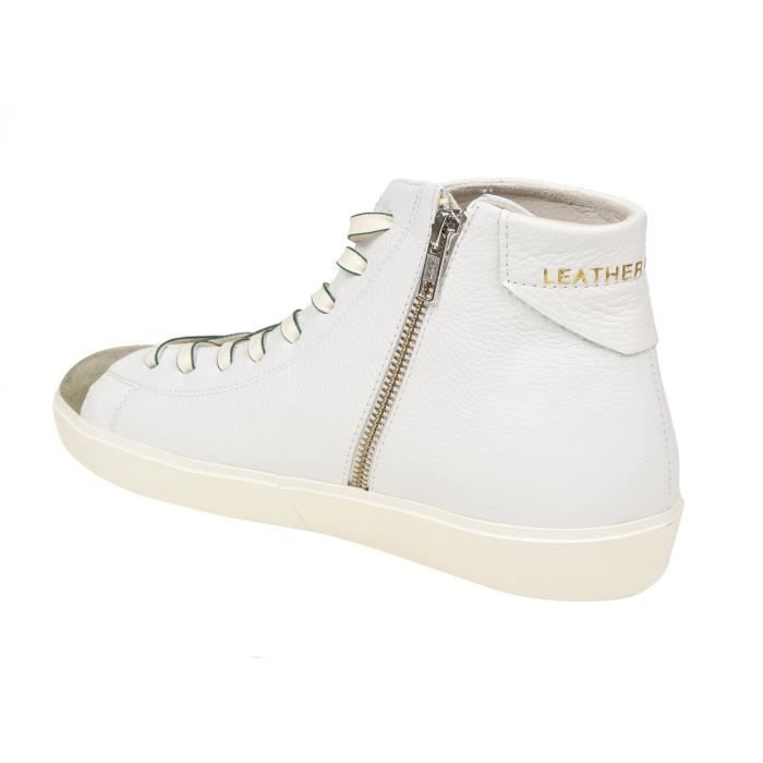 LEATHER CROWN HOMME MFIRE1 BEIGE/BLANC CUIR BASKETS MONTANTES